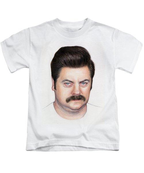 Ron Swanson Portrait Nick Offerman Kids T-Shirt by Olga Shvartsur