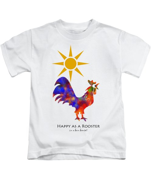 Rooster Pattern Art Kids T-Shirt by Christina Rollo