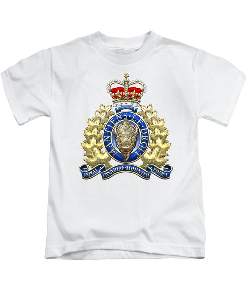 Royal Canadian Mounted Police - Rcmp Badge On White Leather Kids T-Shirt by Serge Averbukh