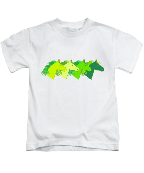 Running Horse Lime Kids T-Shirt by Alexsan