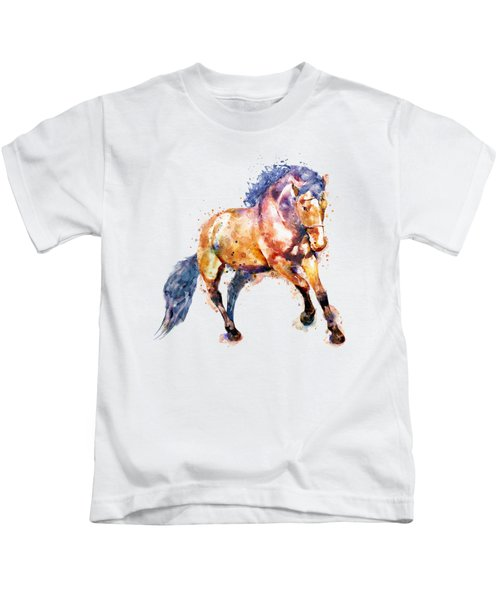 Running Horse Kids T-Shirt by Marian Voicu