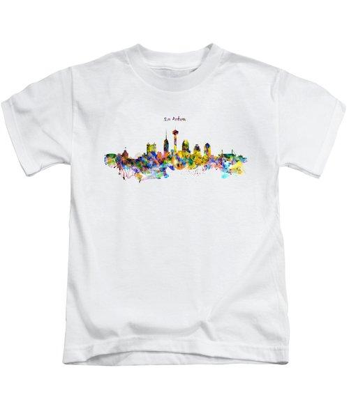 San Antonio Skyline Silhouette Kids T-Shirt by Marian Voicu