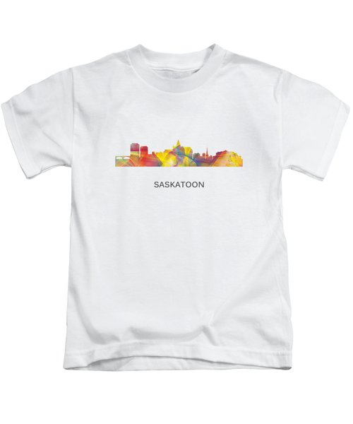 Saskatoon Sask.skyline Kids T-Shirt by Marlene Watson