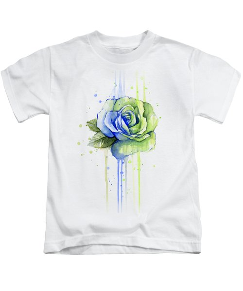 Seattle 12th Man Seahawks Watercolor Rose Kids T-Shirt by Olga Shvartsur