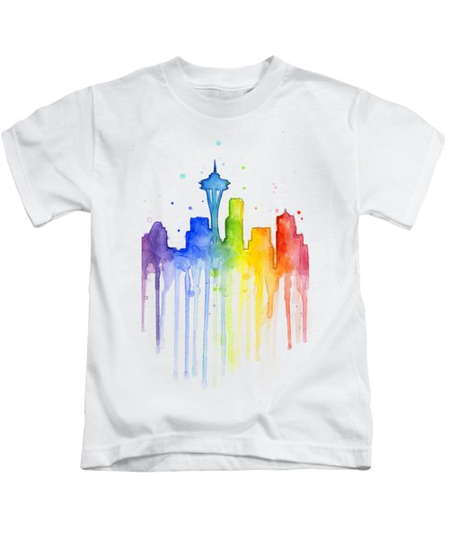 Seattle Rainbow Watercolor Kids T-Shirt by Olga Shvartsur