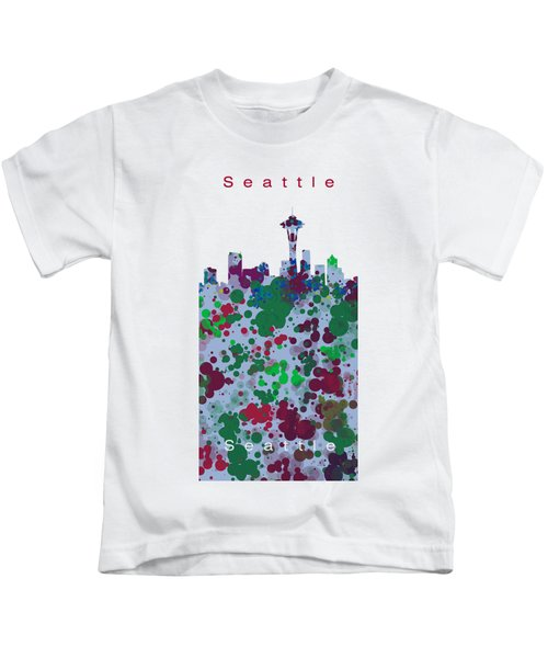 Seattle Skyline .3 Kids T-Shirt by Alberto RuiZ