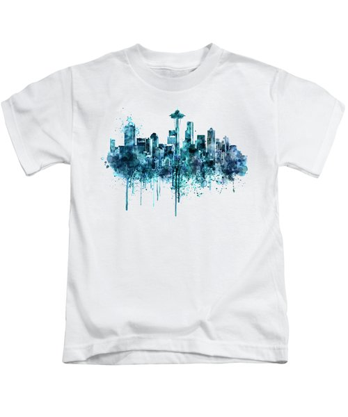 Seattle Skyline Monochrome Watercolor Kids T-Shirt by Marian Voicu