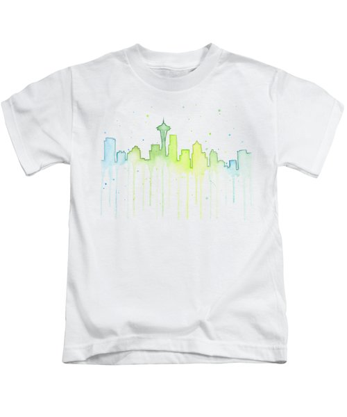 Seattle Skyline Watercolor  Kids T-Shirt by Olga Shvartsur