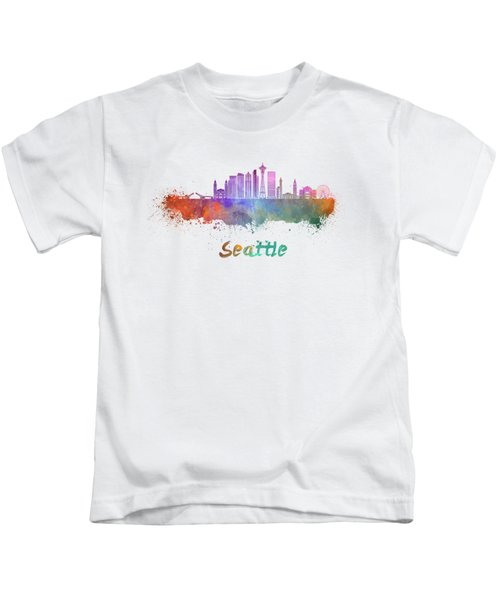 Seattle V2 Skyline In Watercolor Kids T-Shirt by Pablo Romero
