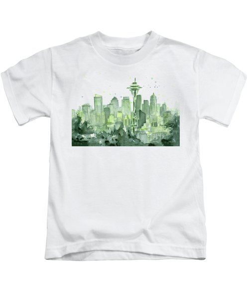 Seattle Watercolor Kids T-Shirt by Olga Shvartsur