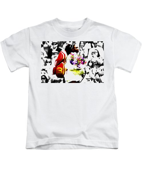 Serena Williams 2f Kids T-Shirt by Brian Reaves