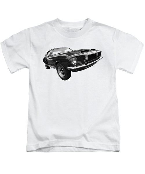 Shelby Gt500kr 1968 In Black And White Kids T-Shirt by Gill Billington