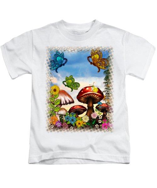 Shroomvilla Summer Fantasy Folk Art Kids T-Shirt by Sharon and Renee Lozen