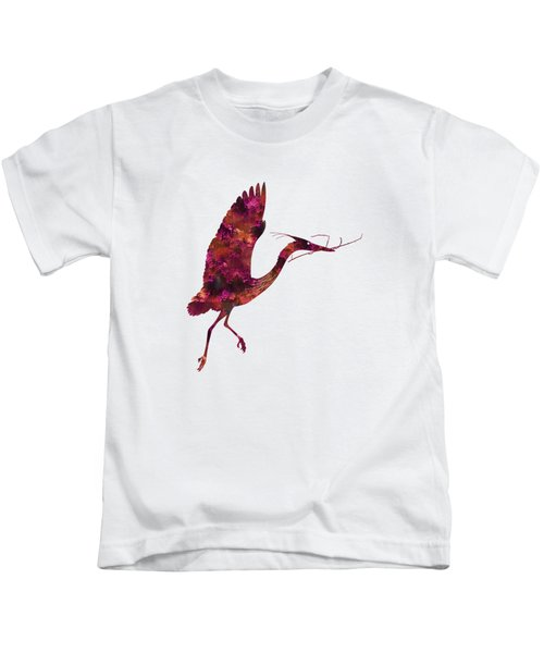 Colorful Great Blue Heron Silhouette Kids T-Shirt by Shara Lee