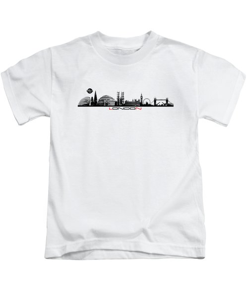 skyline city London black Kids T-Shirt by Justyna JBJart
