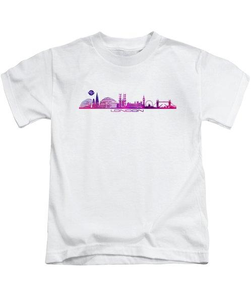 skyline city London purple Kids T-Shirt by Justyna JBJart