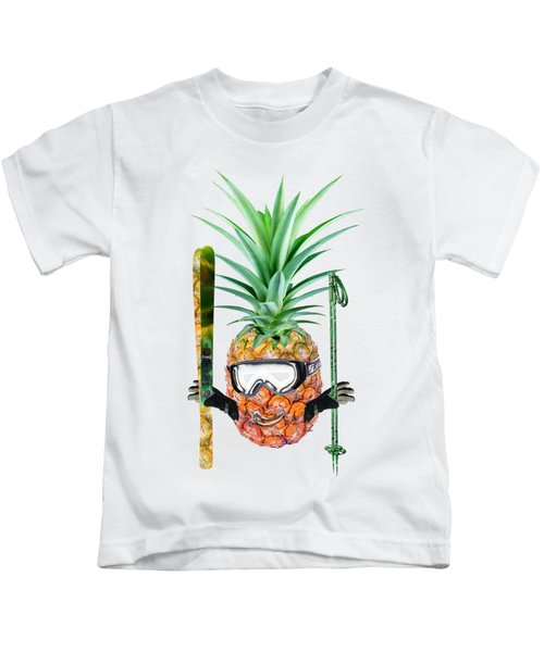 Smiling Pineapple-downhill Skier Kids T-Shirt by Elena Nikolaeva