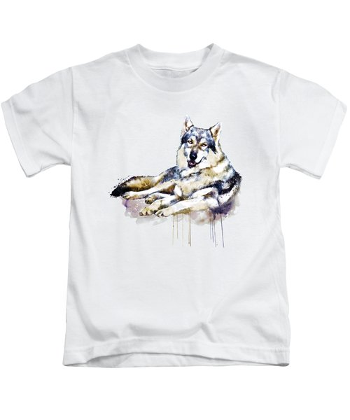 Smiling Wolf Kids T-Shirt by Marian Voicu