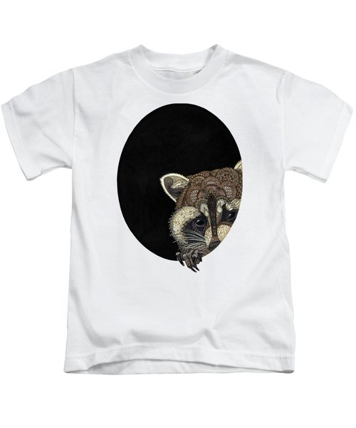 Socially Anxious Raccoon Kids T-Shirt by ZH Field