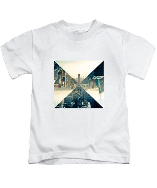 Split Skyline Ny Kids T-Shirt by Jamie Kingswood
