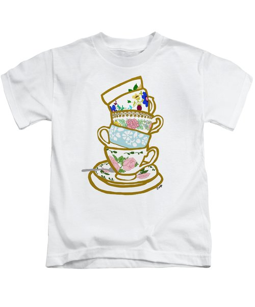 Stacked Teacups Kids T-Shirt by Priscilla Wolfe
