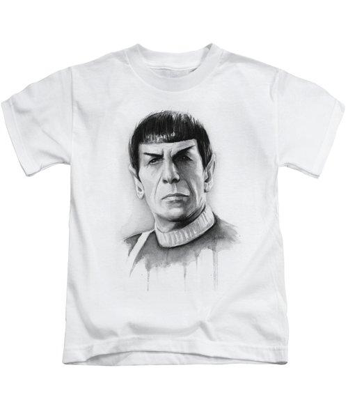 Star Trek Spock Portrait Kids T-Shirt by Olga Shvartsur