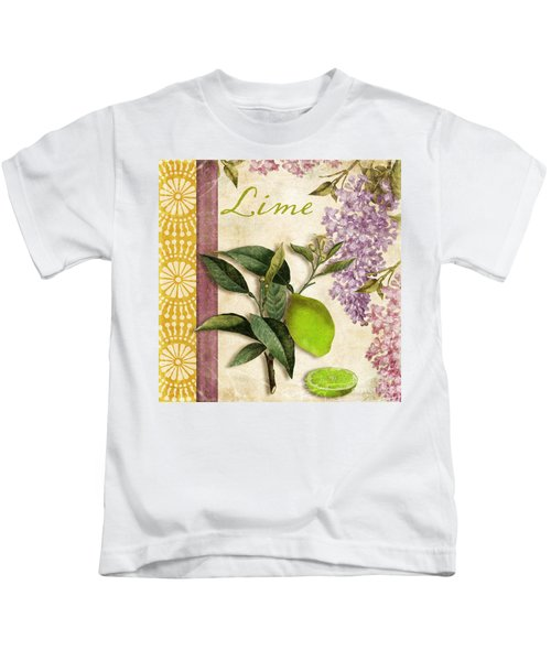 Summer Citrus Lime Kids T-Shirt by Mindy Sommers