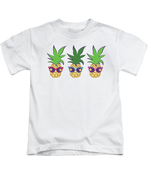 Summer Pineapples Wearing Retro Sunglasses Kids T-Shirt by MM Anderson