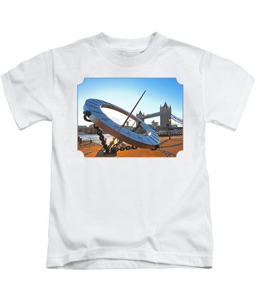 Sun Dial And Tower Bridge London Kids T-Shirt by Gill Billington