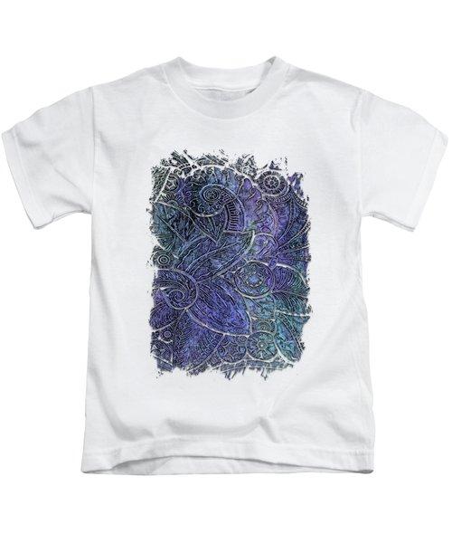 Swan Dance Berry Blues 3 Dimensional Kids T-Shirt by Di Designs