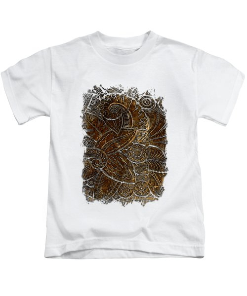 Swan Dance Earthy 3 Dimensional Kids T-Shirt by Di Designs