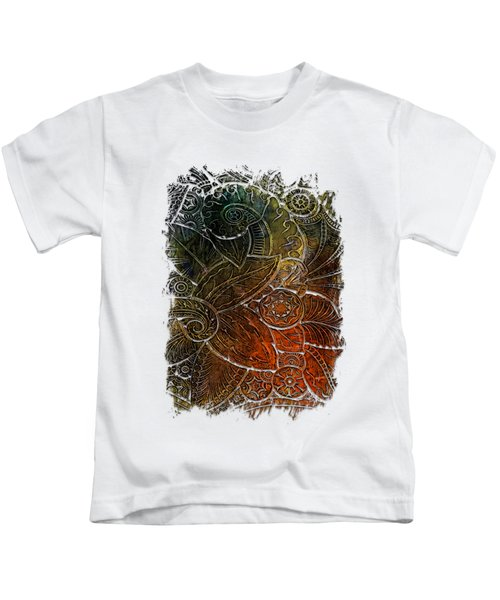 Swan Dance Earthy Rainbow 3 Dimensional Kids T-Shirt by Di Designs