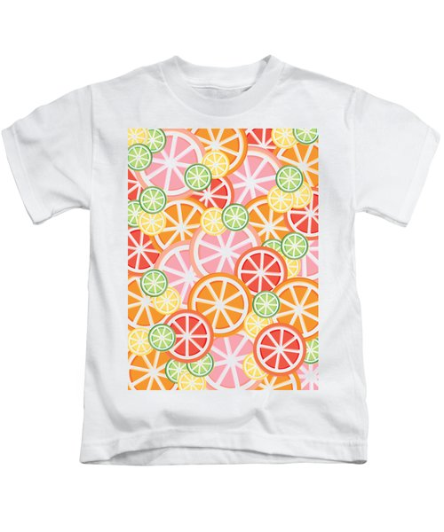 Sweet And Sour Citrus Print Kids T-Shirt by Lauren Amelia Hughes