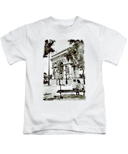 The Arc De Triomphe Paris Black And White Kids T-Shirt by Marian Voicu