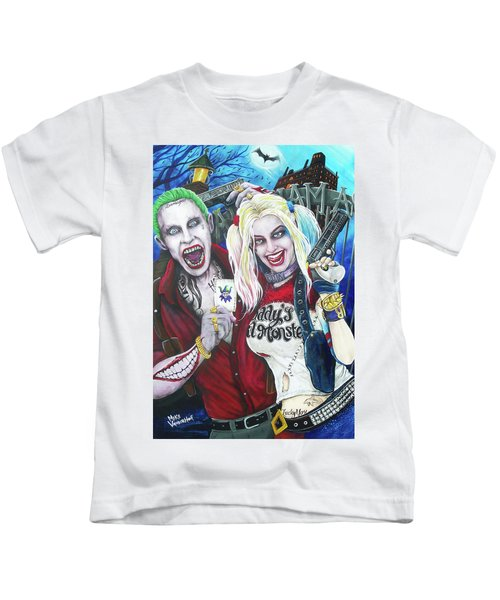 The Joker And Harley Quinn Kids T-Shirt by Michael Vanderhoof