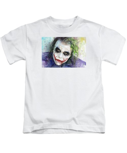 The Joker Watercolor Kids T-Shirt by Olga Shvartsur