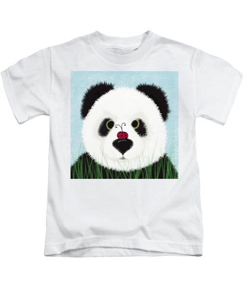 The Panda And His Visitor  Kids T-Shirt by Michelle Brenmark