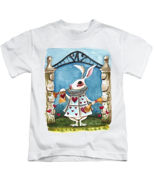 The White Rabbit Announcing Kids T-Shirt by Lucia Stewart