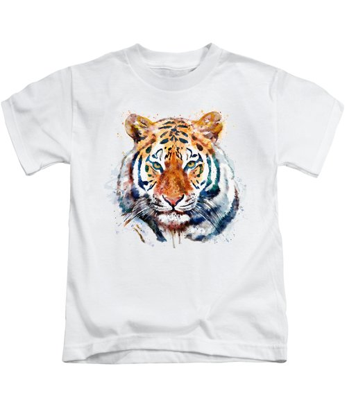 Tiger Head Watercolor Kids T-Shirt by Marian Voicu