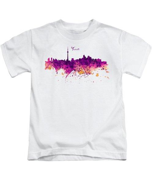 Toronto Watercolor Skyline Kids T-Shirt by Marian Voicu