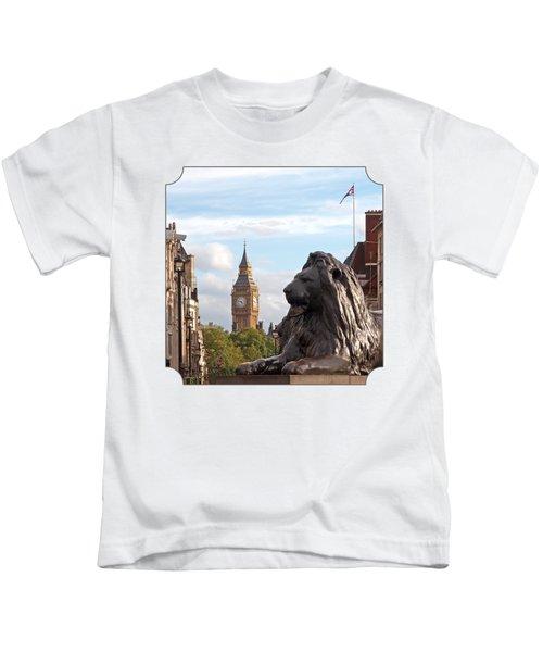 Trafalgar Square Lion With Big Ben Kids T-Shirt by Gill Billington
