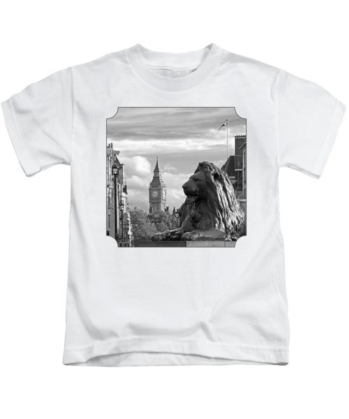 Trafalgar Square Lion With Big Ben In Black And White Kids T-Shirt by Gill Billington