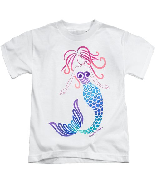 Tribal Mermaid Kids T-Shirt by Heather Schaefer