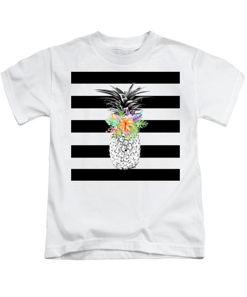 Tropical Flower Pineapple Black And White Stripes Kids T-Shirt by Dushi Designs