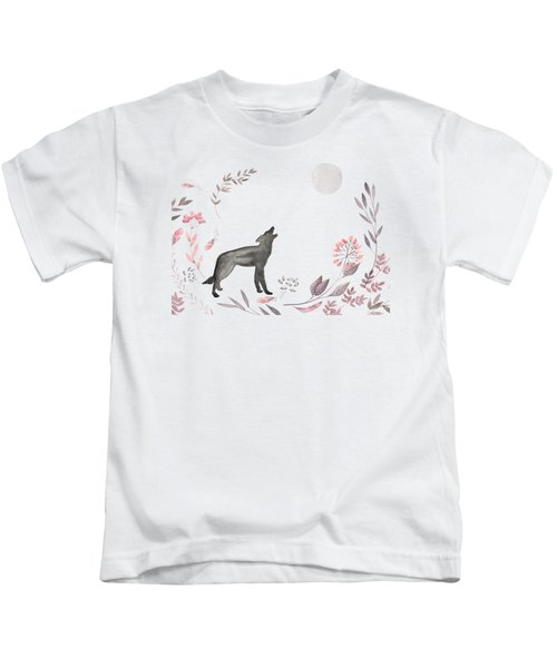 Twilight Wolf Kids T-Shirt by Amanda  Lakey