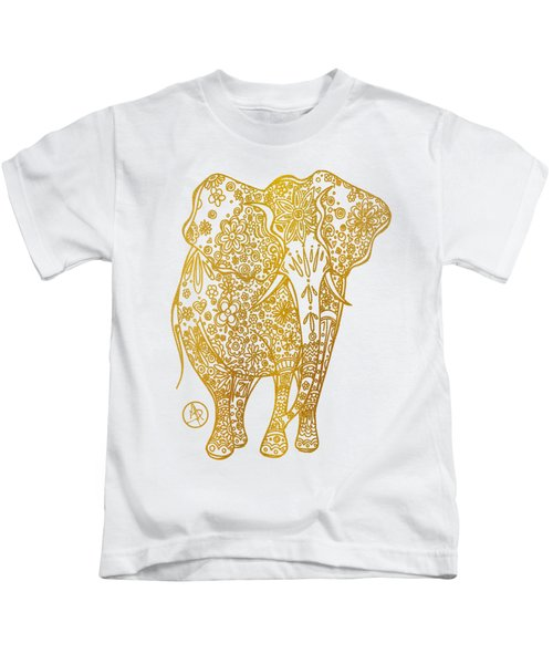 Unique Golden Elephant Art Drawing By Megan Duncanson Kids T-Shirt by Megan Duncanson