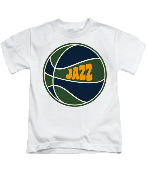 Utah Jazz Retro Shirt Kids T-Shirt by Joe Hamilton