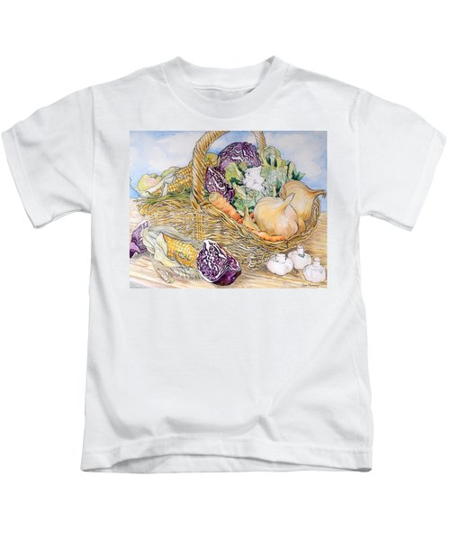 Vegetables In A Basket Kids T-Shirt by Joan Thewsey