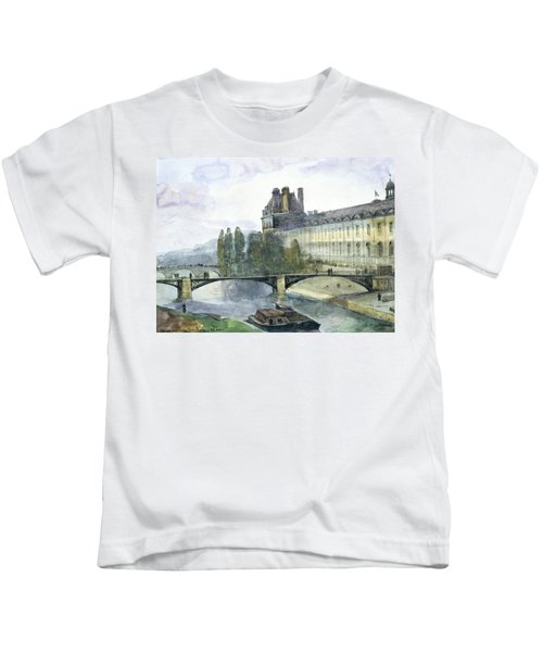 View Of The Pavillon De Flore Of The Louvre Kids T-Shirt by Francois-Marius Granet