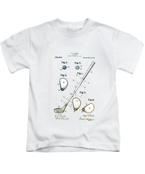 Vintage 1910 Golf Club Patent Kids T-Shirt by Bill Cannon
